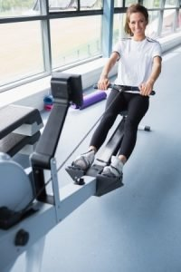 Girl on Concept2 Rowing Machine